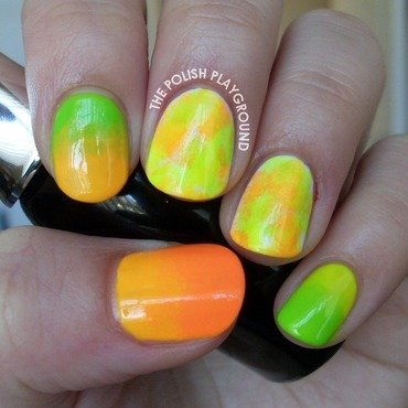 Neon Sponging and Gradient nail art by Lisa N