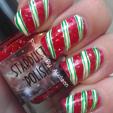 Candy Cane Nail Art nail art by Ashley Hoopes