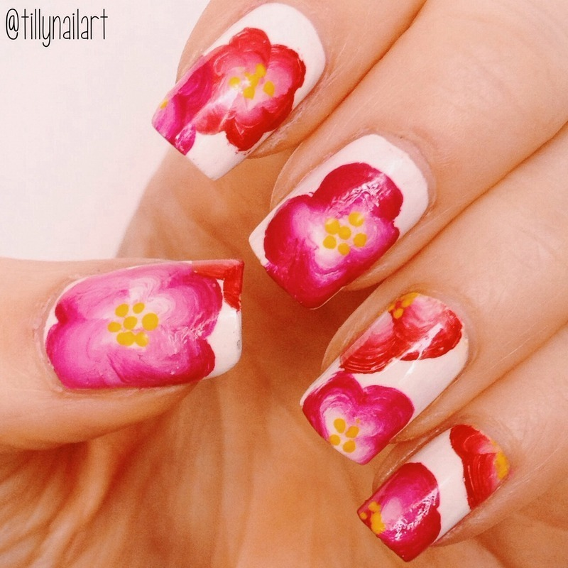 One stroke tropical flower nails nail art by Tilly  Hawkins