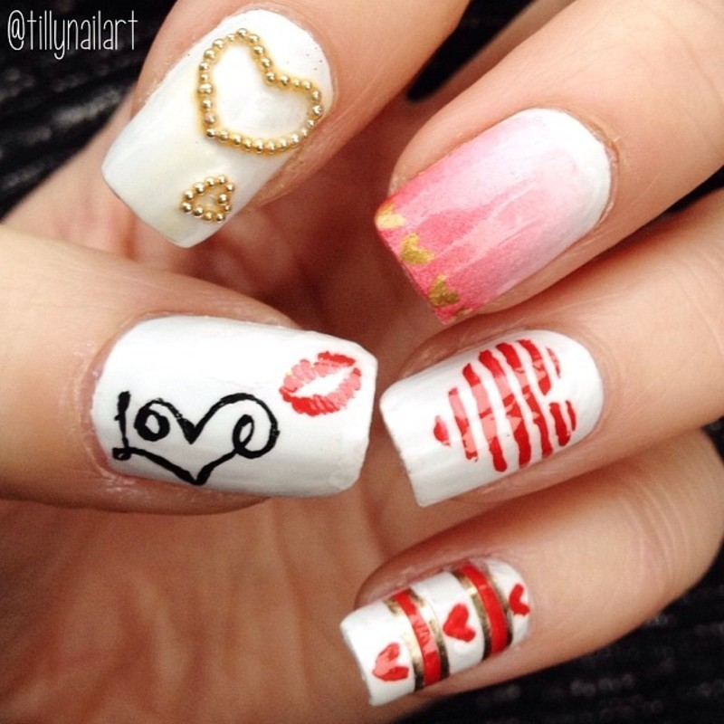 Valentine\'s Day Love Nails nail art by Tilly Hawkins - Nailpolis ...