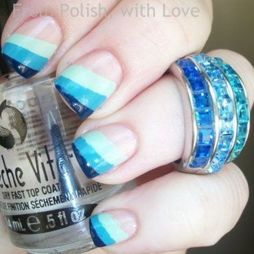 Tri-Blue Stripes (inspired by Sparrow Nails) nail art by Dani