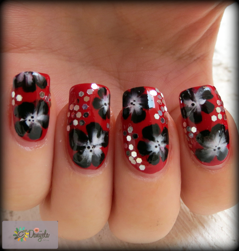 One stroke flowers nail art by bydanijela