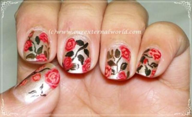 Vintage Roses nail art by  Shilpa  Gandotra