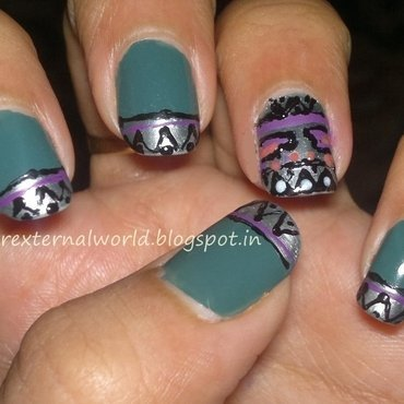 first attempt at aztec nail art nail art by  Shilpa  Gandotra