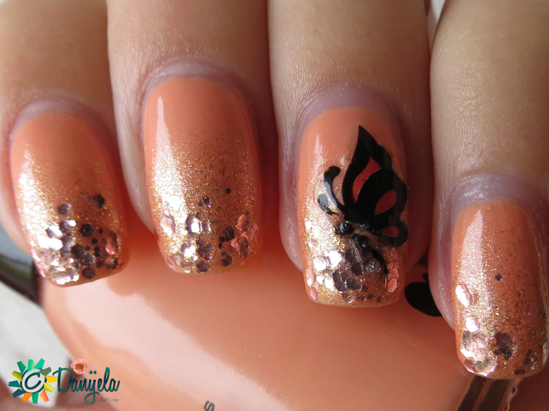 Orange gradient with butterfly nail art by bydanijela