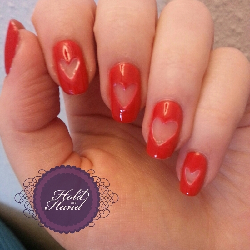 Negative space Valentines hearts nail art by Amy Box