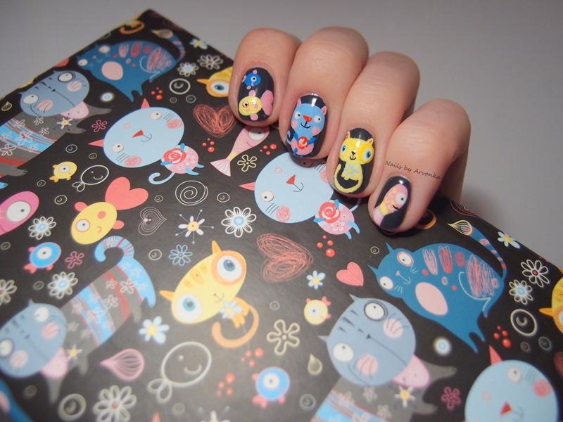 Cats and fish nail art by Veronika Sovcikova