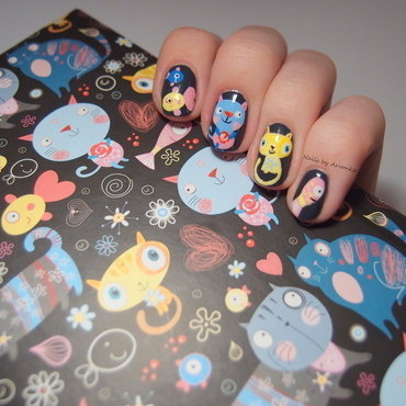 Cats and fish nail art by Veronika Sovcikova