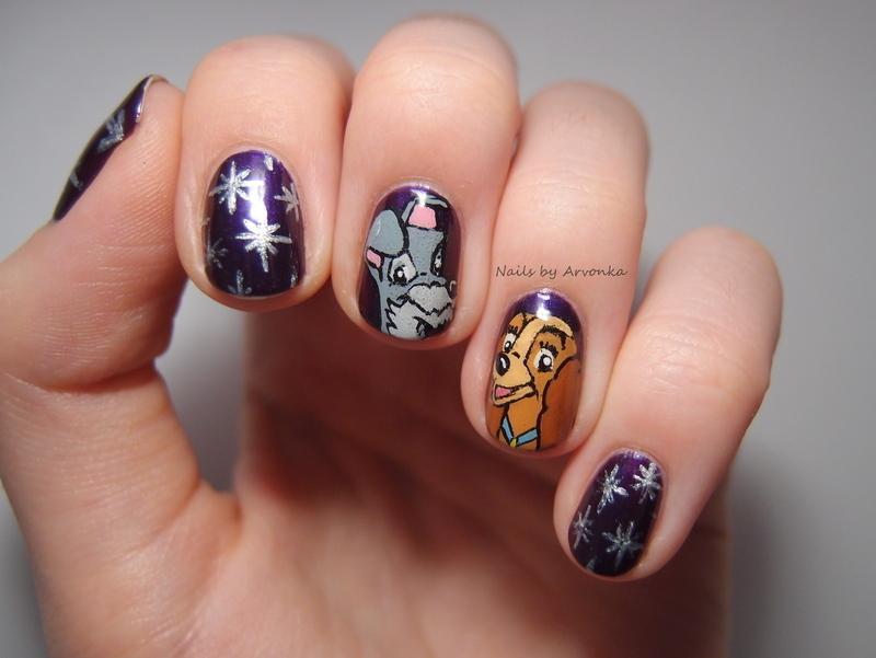 Lady and Tramp nail art by Veronika Sovcikova