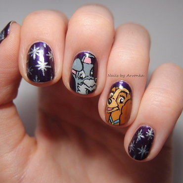 Lady and Tramp nail art by Veronika Sovcikova