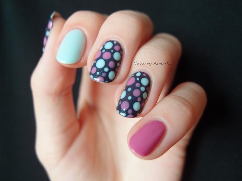 Pastel Dots nail art by Veronika Sovcikova