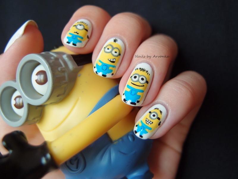 Minion Madness nail art by Veronika Sovcikova