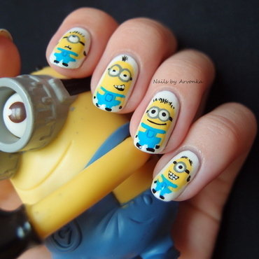 Minion Madness nail art by Veronika Sovcikova