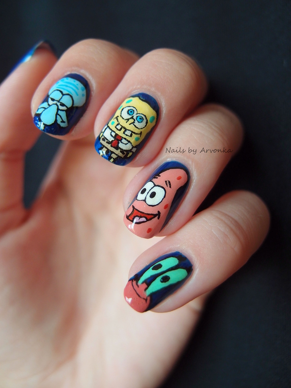 Spongebob and Friends nail art by Veronika Sovcikova