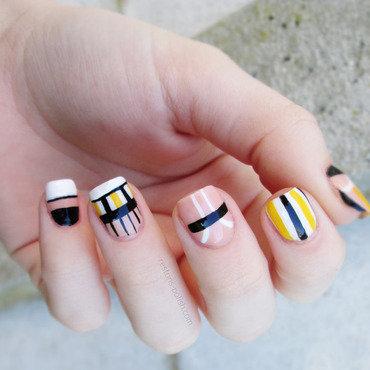 Nail art noir blanc jaune thumb370f