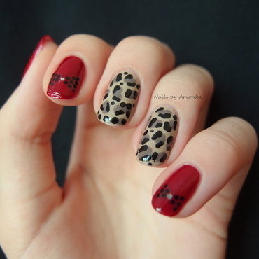 Leopard with bows nail art by Veronika Sovcikova
