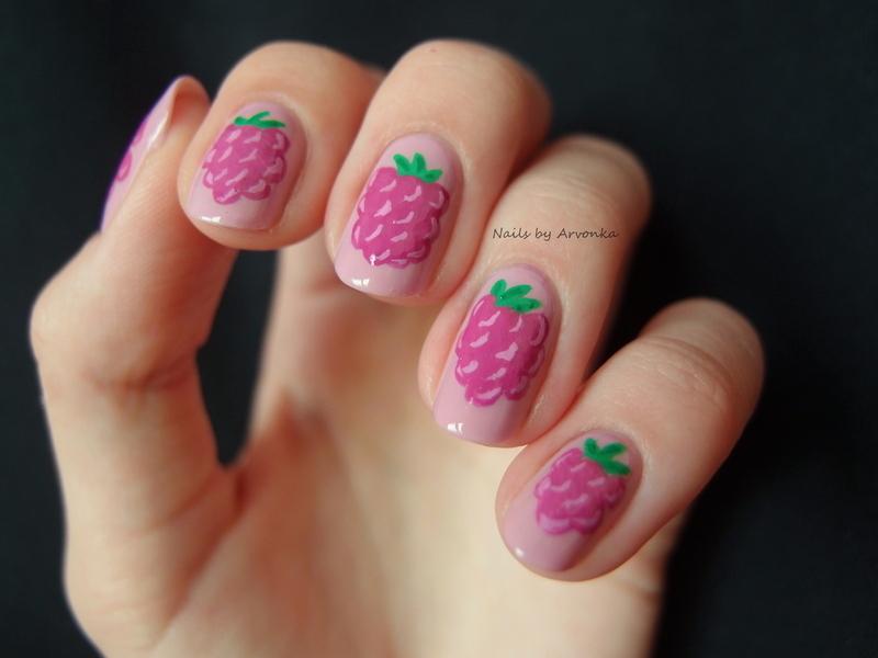 Raspberries nail art by Veronika Sovcikova