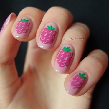 Raspberries nail art by Veronika Sovcikova