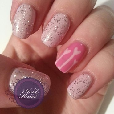 Pink Hearts and Glitter nail art by Amy Box