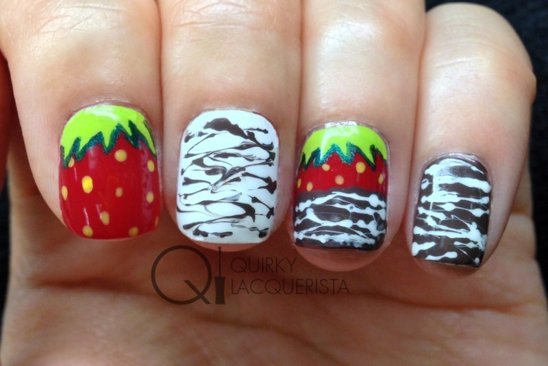 Chocolate covered Strawberry nail art by Kimmi