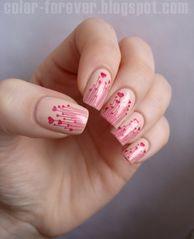valentines red hearts nail art by ania