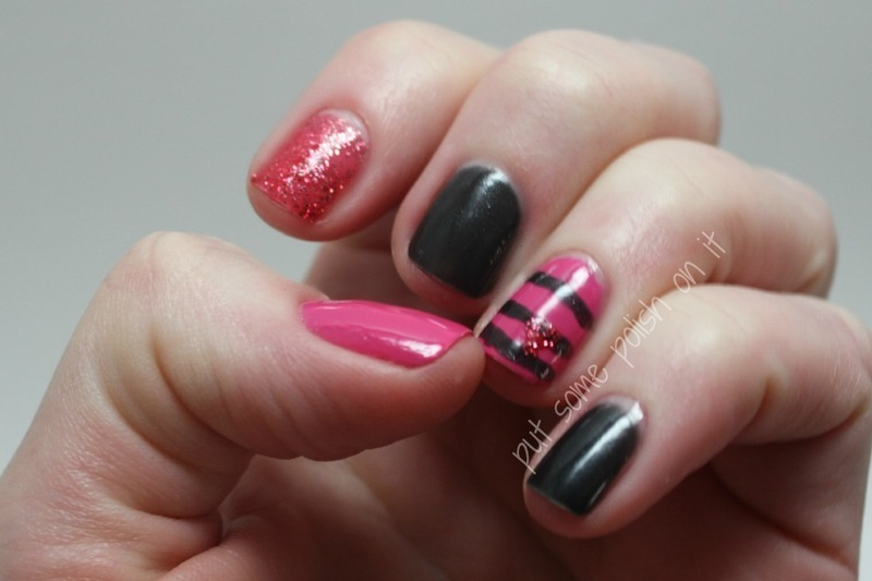 glitter and stripes and hearts oh my nail art by Crystal