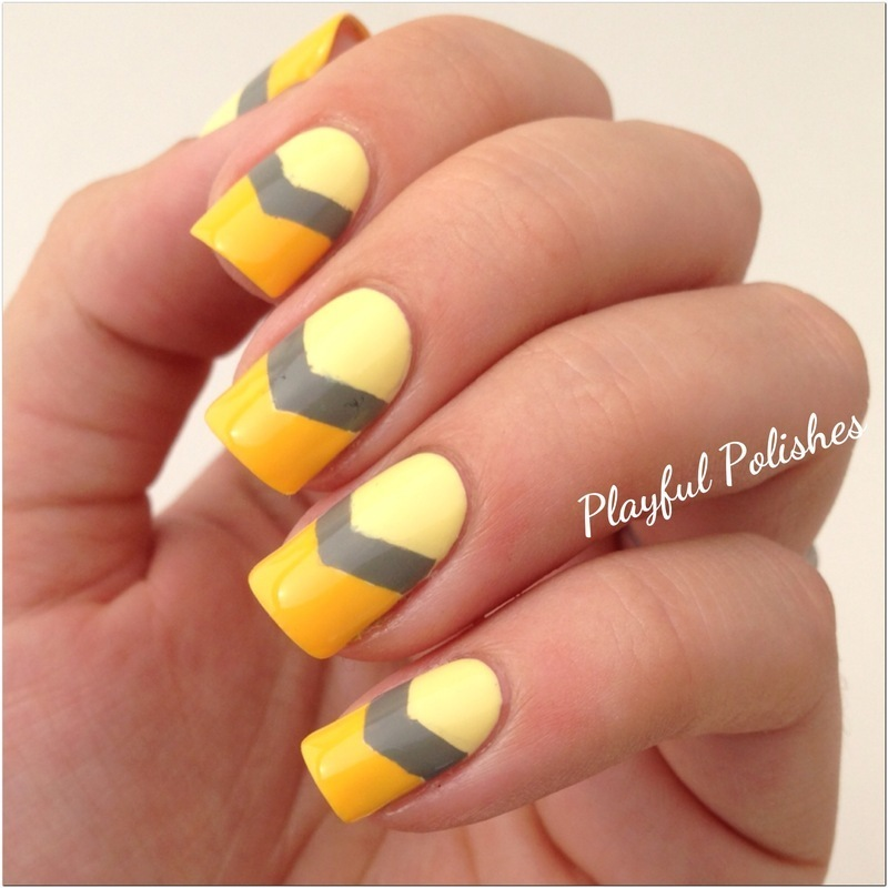 Yellow Chevron nail art by Playful Polishes