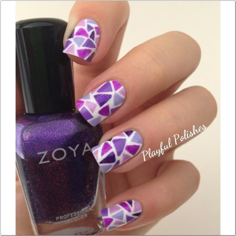 Purple Mosaic  nail art by Playful Polishes