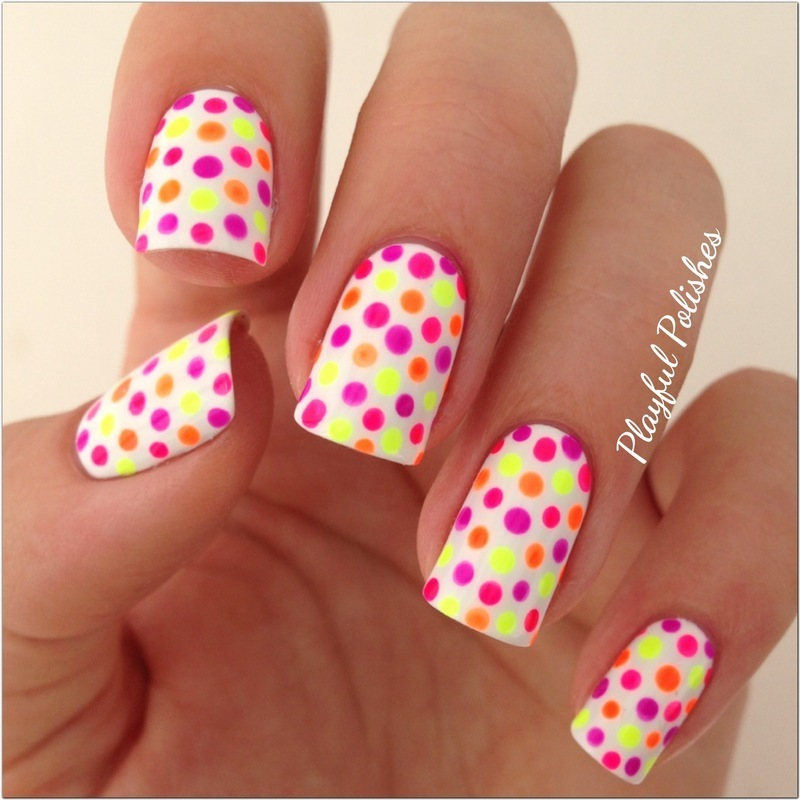 Neon Polka Dot nail art by Playful Polishes