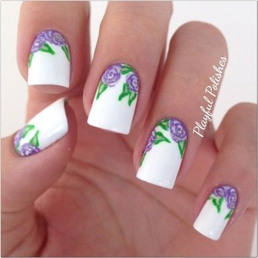 Purple Roses nail art by Playful Polishes