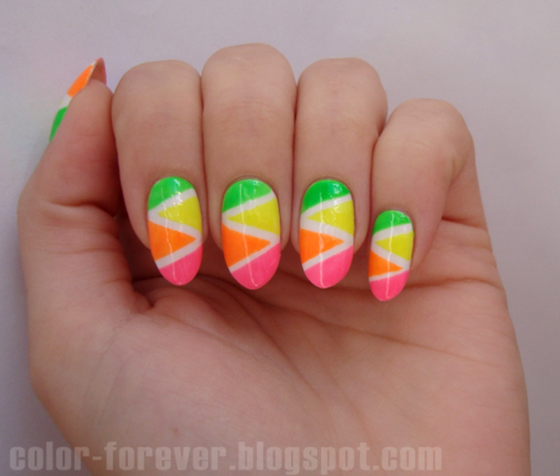 neon tape manicure nail art by ania