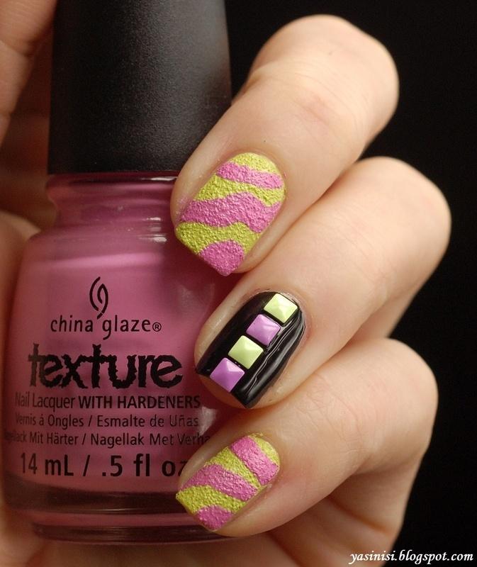 Neon zebra and studs nail art by Yasinisi