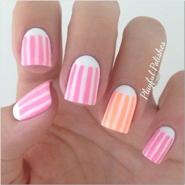 Neon Striped Half Moon nail art by Playful Polishes