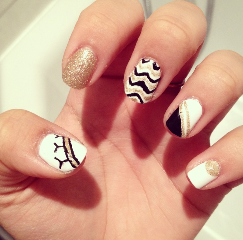 Gold vs. Black vs. White nail art by Zay - Nailpolis: Museum of Nail Art