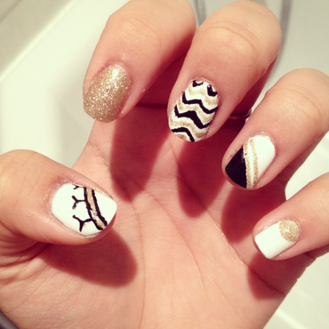 Gold vs. Black vs. White nail art by Zay