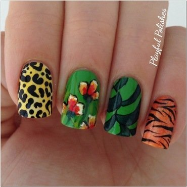 The Jungle Look nail art by Playful Polishes