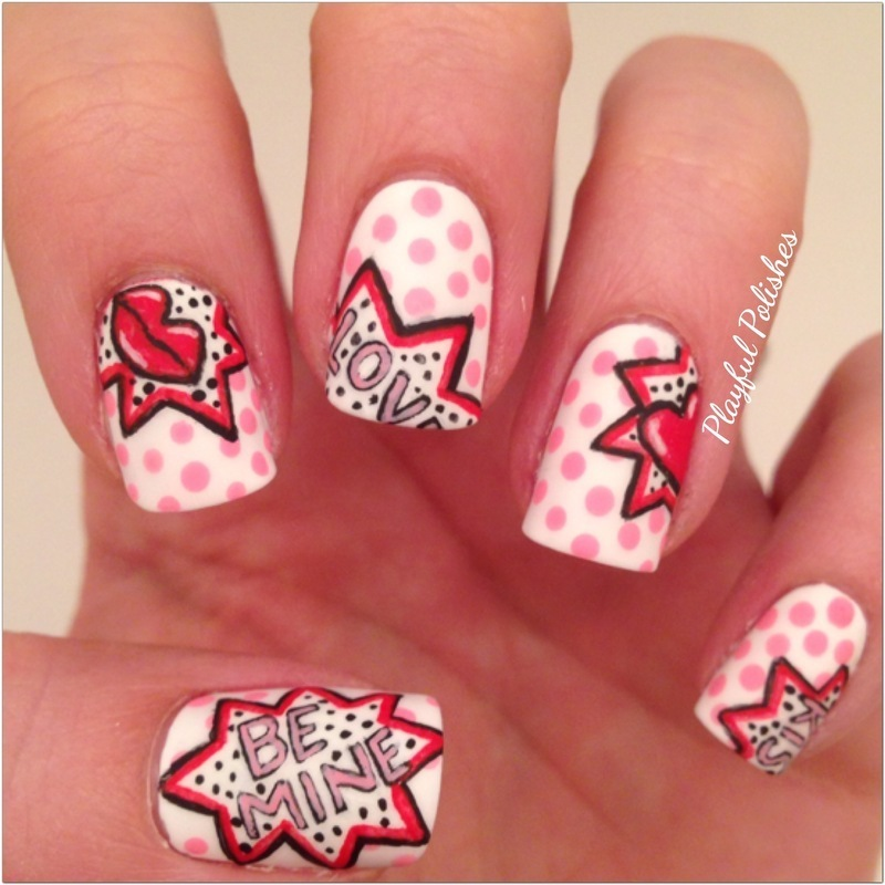 Pop Art Valentine's Day nail art by Playful Polishes