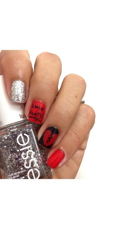 Love Hurts nail art by Adelis Lebron