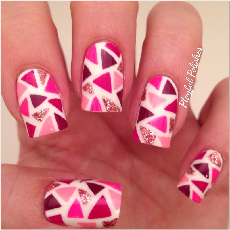 Pink Mosaic  nail art by Playful Polishes