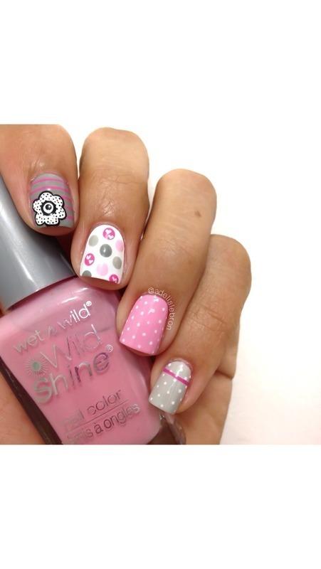 Polka Dots nail art by Adelis Lebron