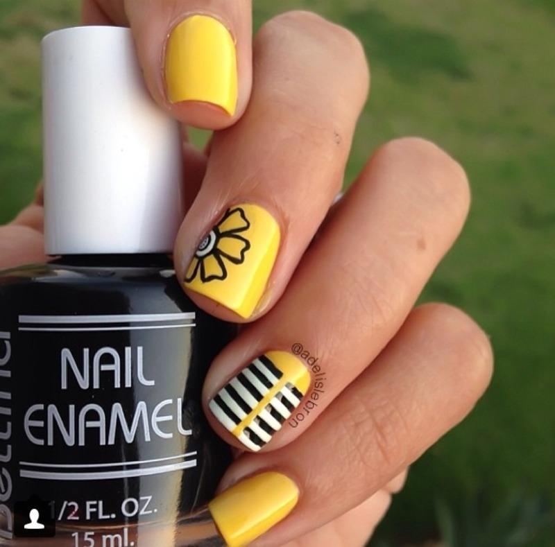 Yellow Spring nail art by Adelis Lebron