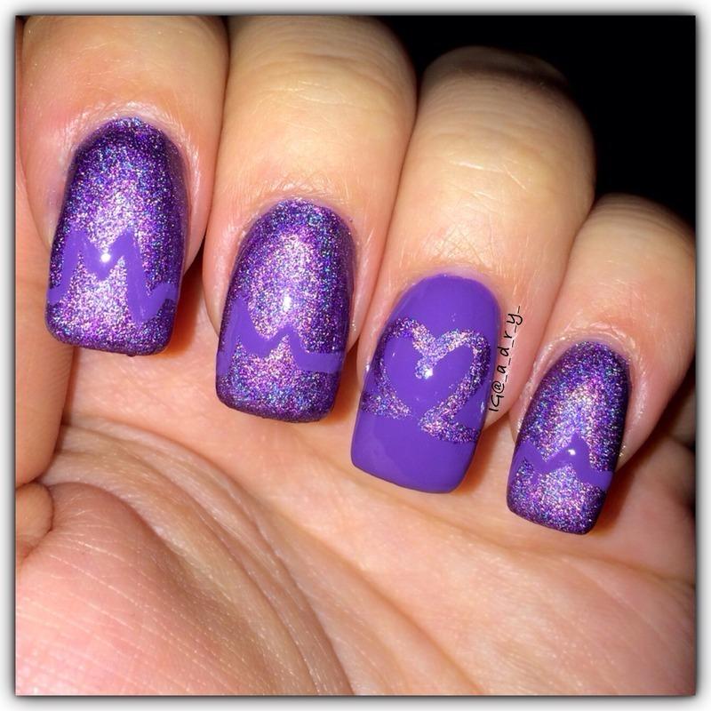 my valentine's day mani <3 nail art by Adriana