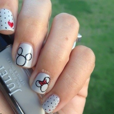 Mickey & Minnie nail art by Adelis Lebron