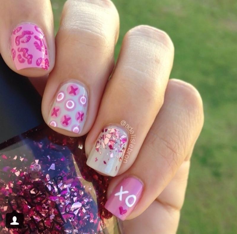XOXO nail art by Adelis Lebron