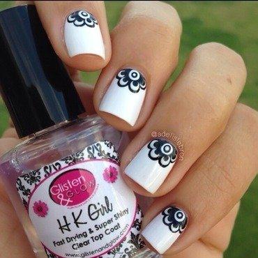 Halfmoon Flowers nail art by Adelis Lebron