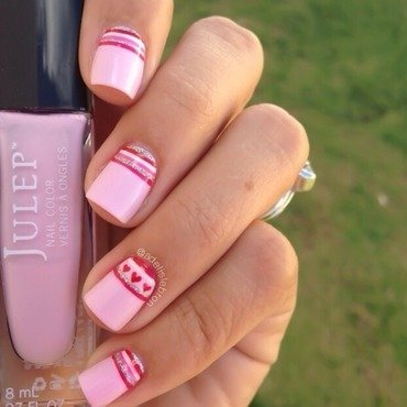 Stripes Halfmoon Nails nail art by Adelis Lebron