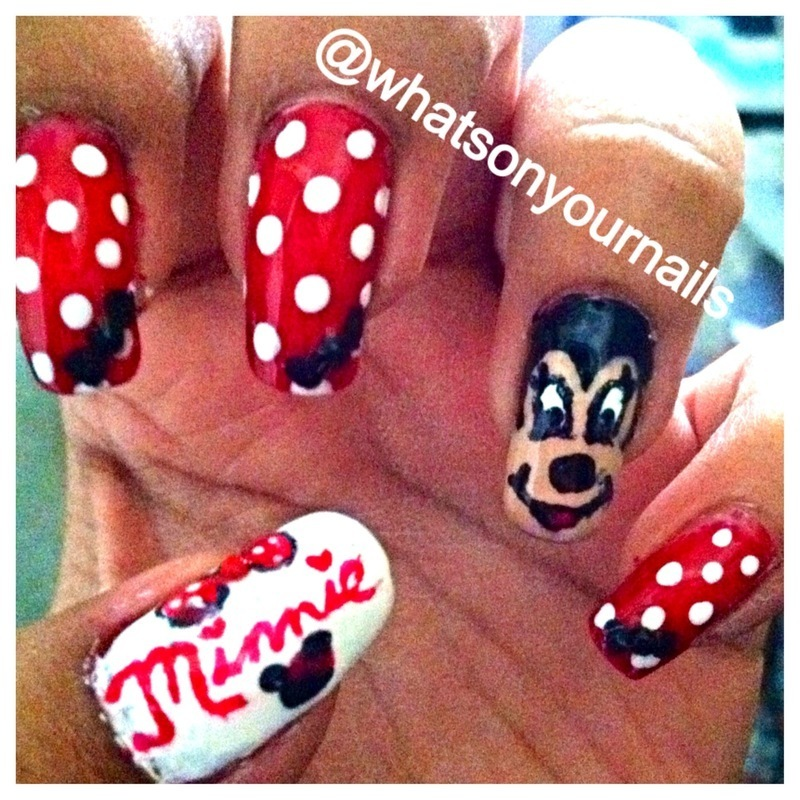 Minnie Mouse Nails nail art by Pocket Full of Nails