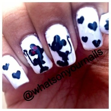 Mickey and Minnie love nails nail art by Pocket Full of Nails