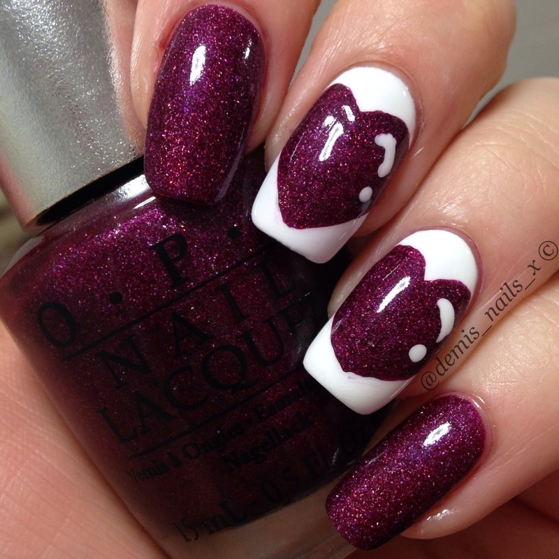Purple Hearts nail art by Demi Wilson