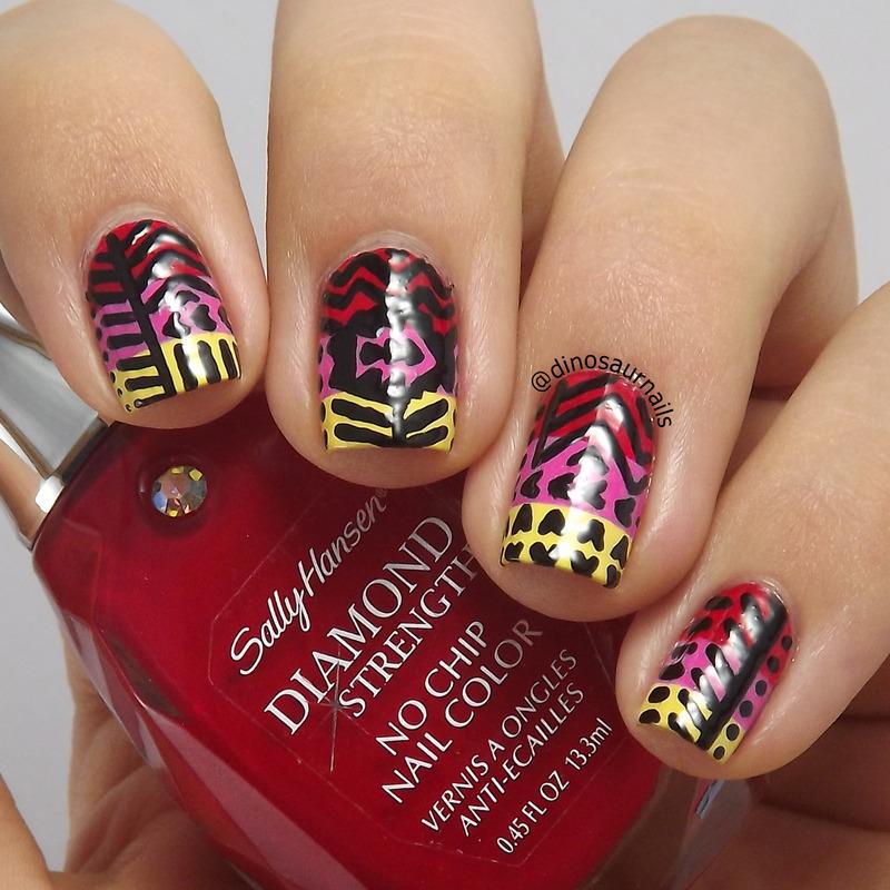 Colorful Tribal nail art by  Vanesa
